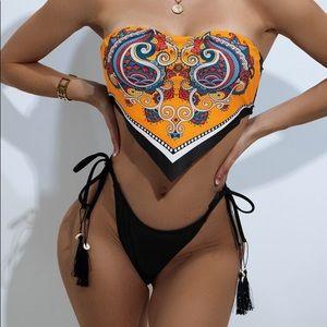 Paisley Print Hanky Hem Tie Side Bikini Swimsuit